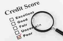 Kreditscore Tabelle mit Lupe und einem Kreuz bei schlechtem Score